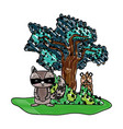 grated raccoon and bear animals with tree and vector image