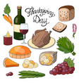 hand drawn elements for the thanksgiving day vector image