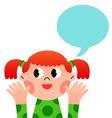 happy cartoon girl with speak bubble vector image vector image