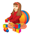 Happy Child Playing with Blocks vector image vector image