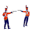 hussar characters dueling with guns isolated vector image