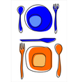 Icons of plates and cutlery table setting vector image vector image