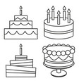 Line art black and white birthday cake set