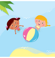 little girls playing in sea vector image vector image