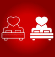 lovers bed with heart line and glyph icon vector image vector image