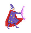 magician in a purple robe in action colorful vector image vector image