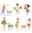male and female shopping pictures of vector image