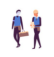 man and cyborg working together flat vector image vector image
