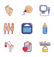 medicine and pregnancy icons set flat style vector image vector image