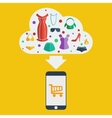 mobile shopping woman vector image