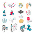 nano technology isometric icons set vector image vector image