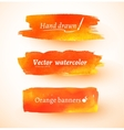 Orange watercolor banners vector image vector image