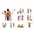 people travel set selfie with english guardsman vector image