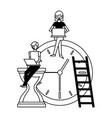 people working with laptop clock vector image vector image