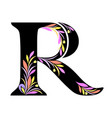 r -capital letter - colored floral design vector image