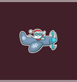 santa claus is flying by plane vector image