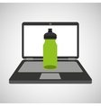 sport laptop app concept bottle water vector image