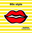 sweet kiss fashion card in pop art style vector image vector image