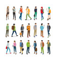 teenagers students flat collection on white vector image vector image
