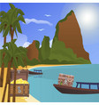 treasure tropical island with chests gold vector image
