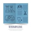 Veterinary pet health care animal medicine icons vector image