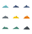 volcanic eruption icons set flat style vector image