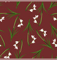 white snowdrop seamless on red background vector image vector image