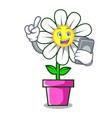 with phone daisy flower character cartoon vector image