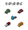 isometric transport set of armored freight truck vector image