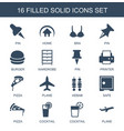 16 solid icons vector image vector image