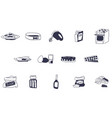 all baking kitchen equipment and raw doodles vector image