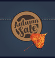 autumn sale banner with patch on denim background vector image vector image