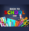 back to school sale poster with realistic school vector image
