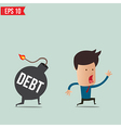 Businessman run away from debt bomb vector image