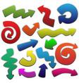 cartoon arrows set vector image vector image