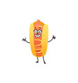cartoon hotdog character isolated vector image vector image