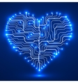 Circuit board in the shape of the heart vector image