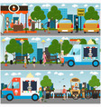 city street park embankment flat vector image