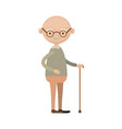 colorful full body elderly man in walking stick vector image vector image