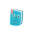 cute notebook cartoon character with bookmark vector image vector image