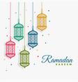 decorative hanging lanterns ramadan kareem vector image