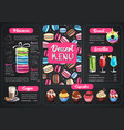 dessert menu design with sweet french macaroons vector image