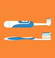electric toothbrush with toothpaste for brushing vector image vector image