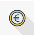euro coin currency thin line flat color icon vector image
