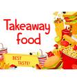 fast food takeaway menu poster design vector image vector image
