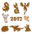gingerbread dragon cookies vector image vector image
