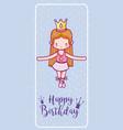 happy birthday with cute ballet dancer card vector image vector image