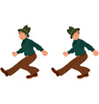 Happy cartoon man walking in green hat vector image vector image