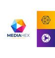 hexa media play logo hex shape frame tech vector image vector image