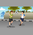 kids playing soccer on the street vector image vector image